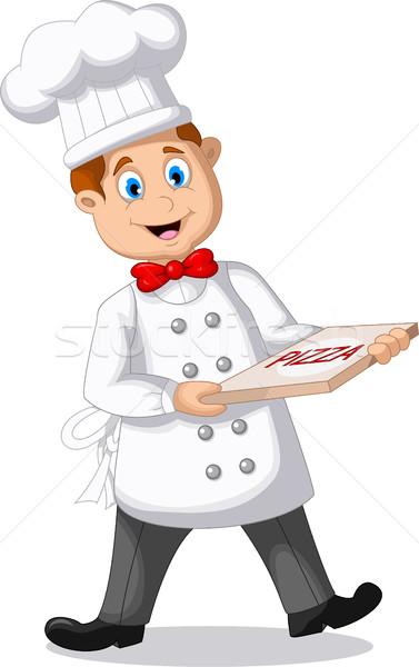 Stock fotó: Rajz · szakács · tart · olasz · eredeti · pizza