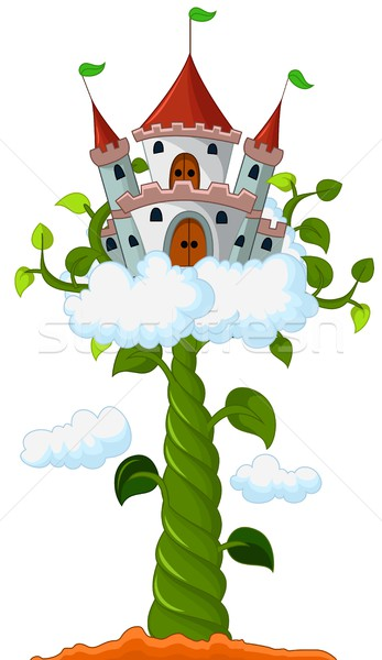 Bean sprout with castle in the clouds cartoon Stock photo © jawa123
