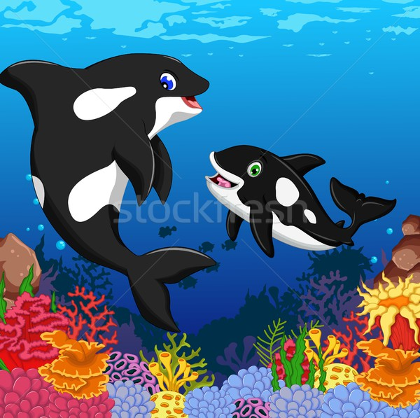 killer whales cartoon with underwater view and coral background Stock photo © jawa123