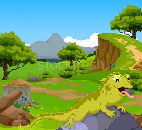 funny chameleon cartoon in the jungle with landscape background Stock photo © jawa123
