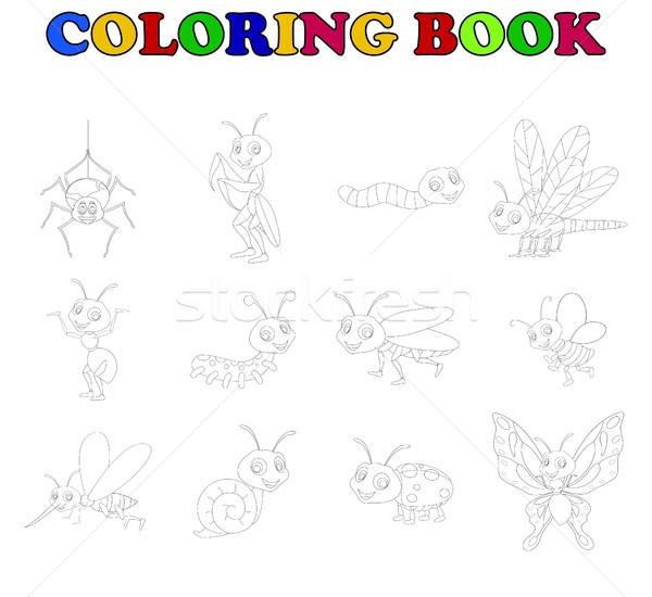 Kolorowanka kolekcja owadów książki charakter tle Zdjęcia stock © jawa123