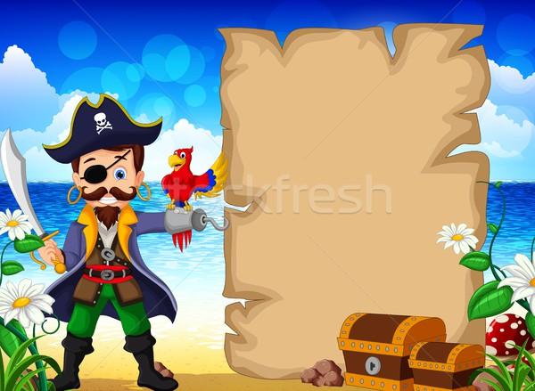 Foto stock: Desenho · animado · pirata · papagaios · sorrir · olho