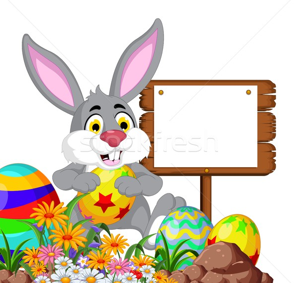 Rabbit with Easter egg and blank sign Stock photo © jawa123
