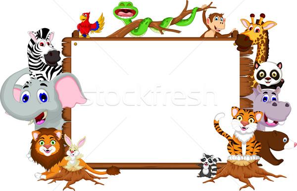 Animales Cartoon colección bordo conejo verano Foto stock © jawa123