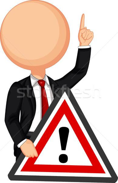 üzletember tart piros forgalom háromszög figyelmeztető jel Stock fotó © jawa123