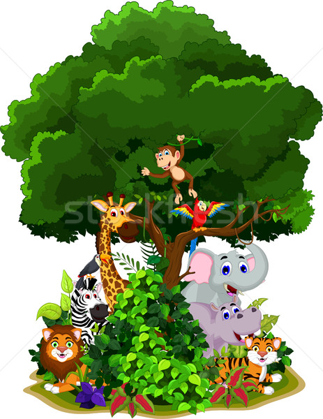 funny animal cartoon with forest background Stock photo © jawa123