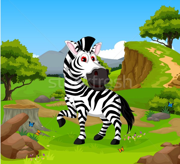 funny zebra cartoon in the jungle with landscape background Stock photo © jawa123