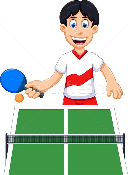 Divertente uomo cartoon giocare tennis da tavolo fitness Foto d'archivio © jawa123
