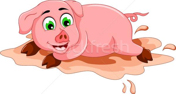 смешные свинья Cartoon играет грязи лужа Сток-фото © jawa123