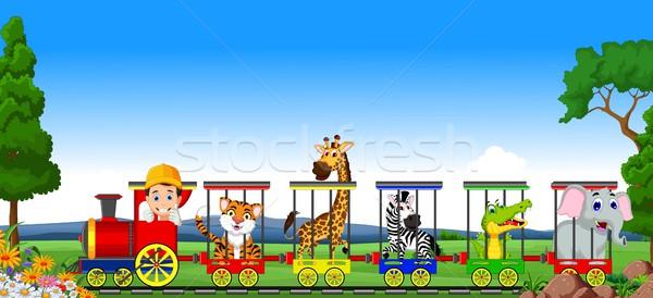 животного поезд Cartoon пейзаж синий путешествия Сток-фото © jawa123