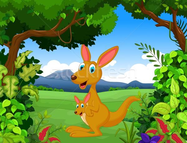 Kangoeroe cartoon landschap boom baby glimlach Stockfoto © jawa123