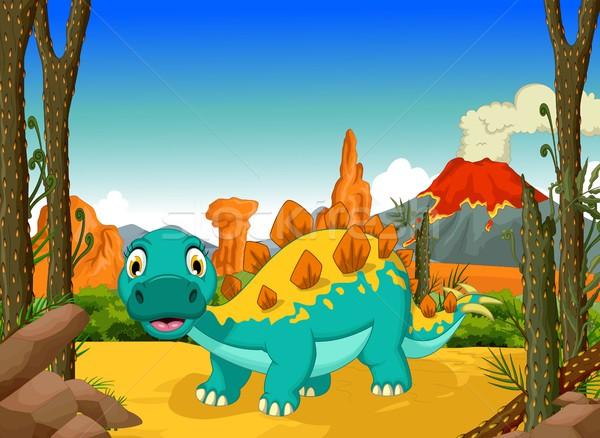 funny stegosaurus cartoon with forest landscape background Stock photo © jawa123