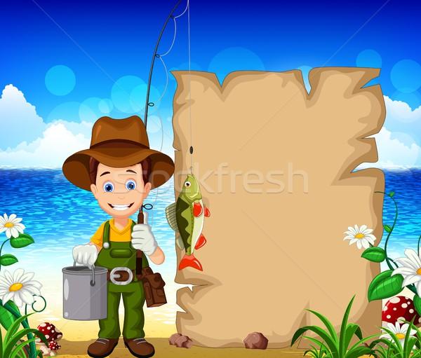 Cartoon pescador peces fondo signo Foto stock © jawa123