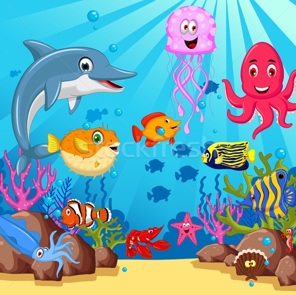 Stock photo: funny cartoon sea life for you design