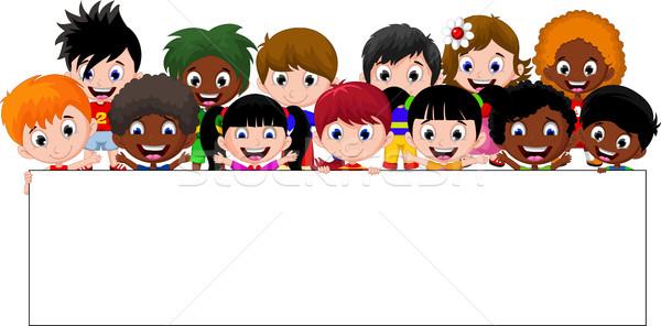 Cartoon kids holding a sign Stock photo © jawa123