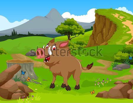 funny chamois cartoon in the jungle Stock photo © jawa123