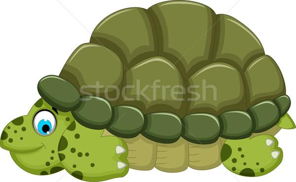 Aranyos teknős rajz sétál boldog világ Stock fotó © jawa123