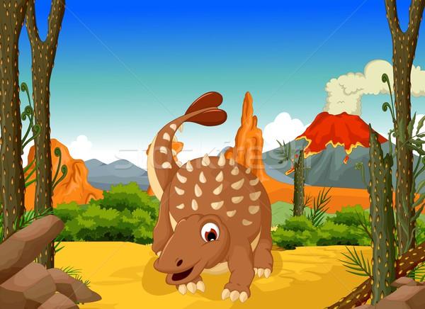 funny Ankylosaurus Dinosaur cartoon with forest landscape background Stock photo © jawa123
