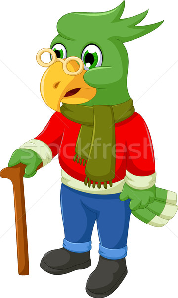cute old parrot cartoon holding a stick Stock photo © jawa123