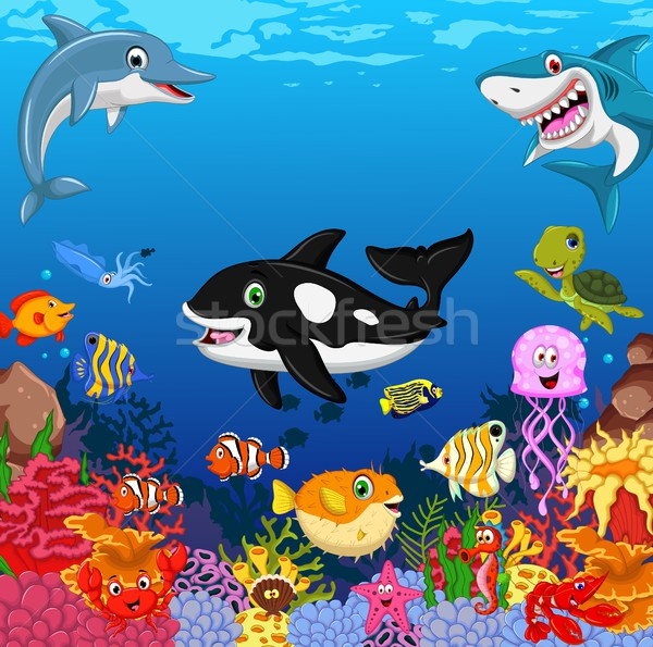 Stock photo: funny sea animals cartoon