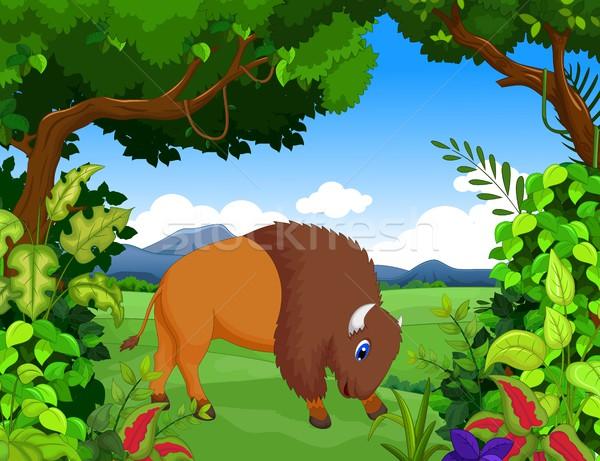 bison cartoon with landscape background Stock photo © jawa123
