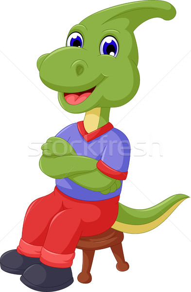 cute Parasaurolophus cartoon sitting on the chair Stock photo © jawa123