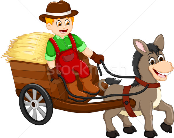 funny farmer cartoon carrying grass with horse drawn carriage Stock photo © jawa123