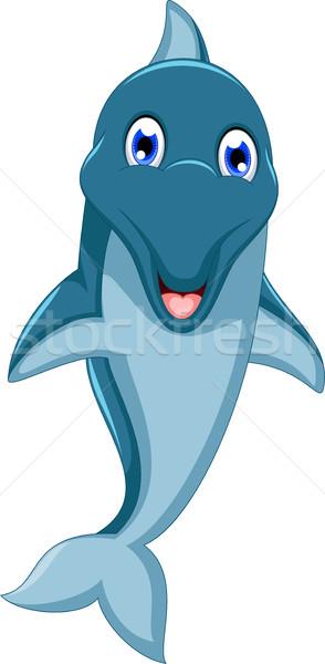Bonitinho golfinho desenho animado saltando água azul Foto stock © jawa123