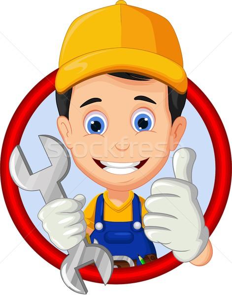 Cartoon mechanic thumb up in frame Stock photo © jawa123