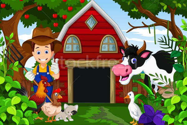 farmer at his farm with a bunch of farm animals Stock photo © jawa123