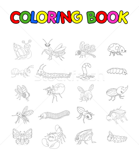 coloring book with collection of insects Stock photo © jawa123
