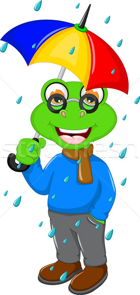 cute frog cartoon wearing an umbrella when heavy rain Stock photo © jawa123