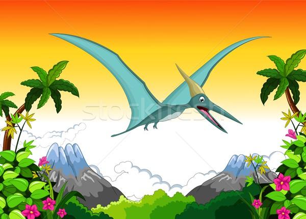 Happy pterodactyl cartoon flying Stock photo © jawa123