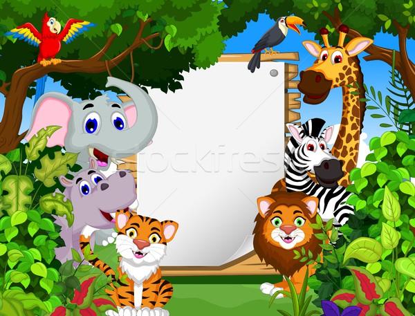 смешные животного Cartoon лес природы Сток-фото © jawa123