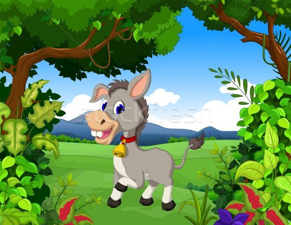 donkey cartoon with landscape background Stock photo © jawa123