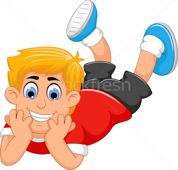 cute little boy cartoon prone Stock photo © jawa123