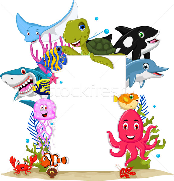 Stock photo: cartoon sea animals with blank sign for you design