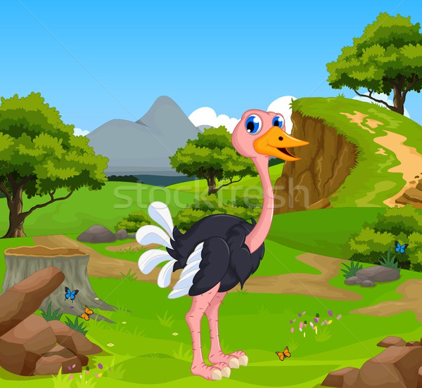 funny ostrich cartoon with mountain cliff landscape background Stock photo © jawa123