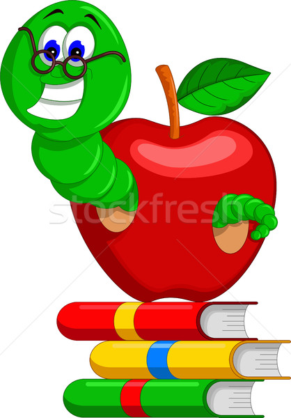caterpillar, books and apple Stock photo © jawa123