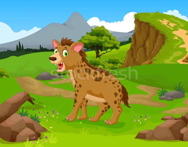 funny hyena cartoon in the jungle with landscape background Stock photo © jawa123