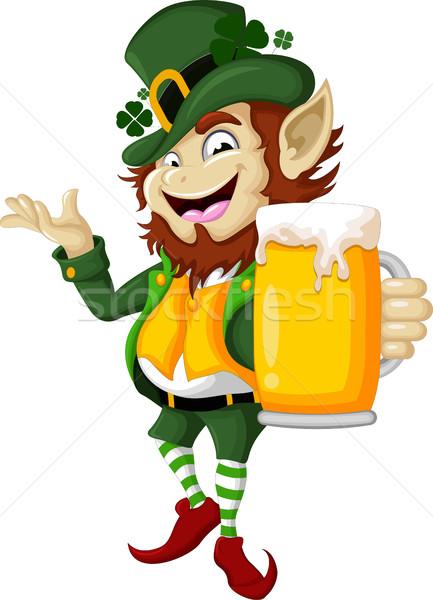 Boldog manó sör zöld jókedv piros Stock fotó © jawa123