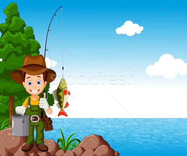 fisherman cartoon with beach background Stock photo © jawa123