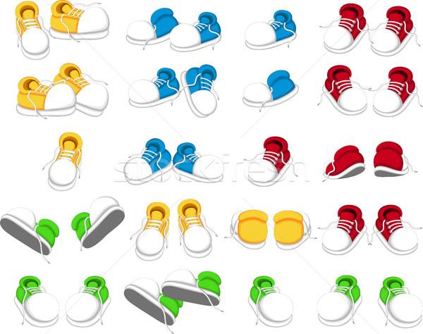 Colección zapatos Cartoon nina hombre moda Foto stock © jawa123