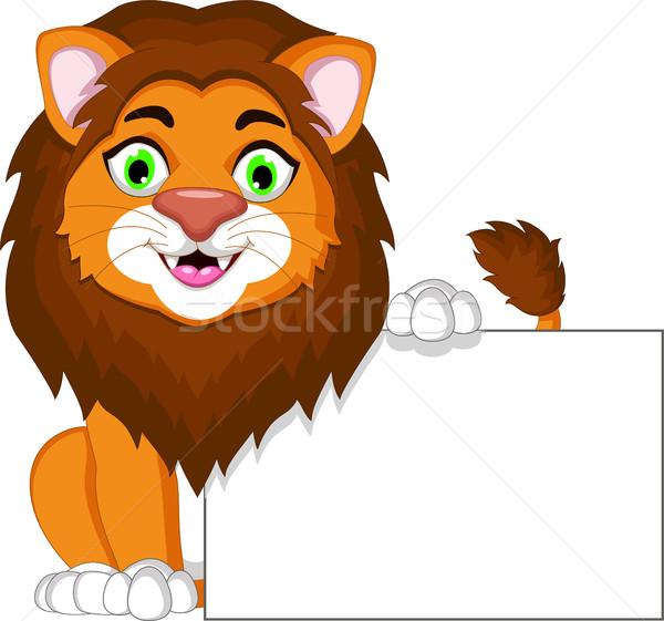 lion cartoon with blank sign Stock photo © jawa123