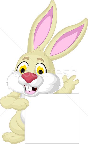 Nyúl rajz pózol üres tábla húsvét boldog Stock fotó © jawa123