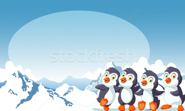 funny four penguin cartoon with snow mountain landscape background Stock photo © jawa123