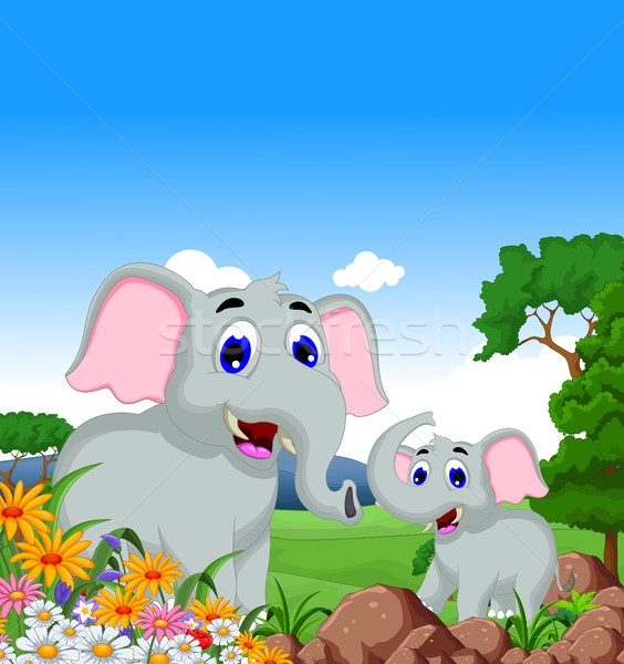 cute elephant cartoon family in the jungle Stock photo © jawa123