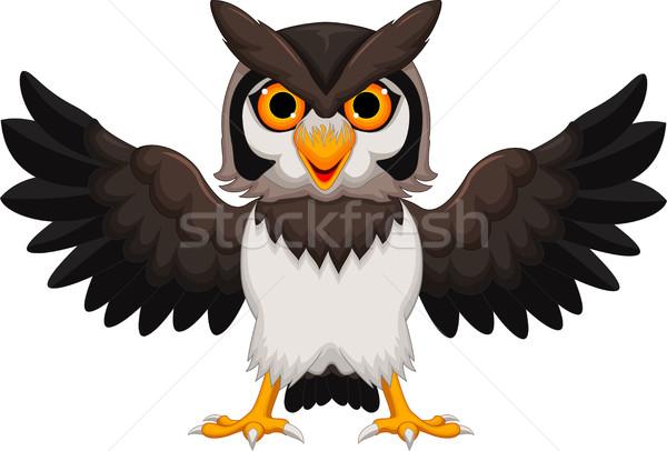 Cute совы Cartoon улыбка счастливым Сток-фото © jawa123