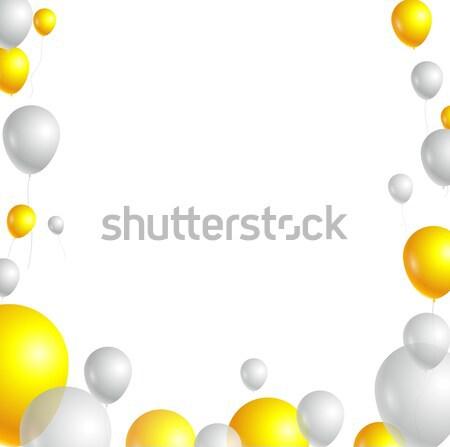 Birthday card with yellow and white balloons  Stock photo © jawa123