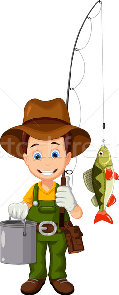 cartoon Fisherman and fish Stock photo © jawa123